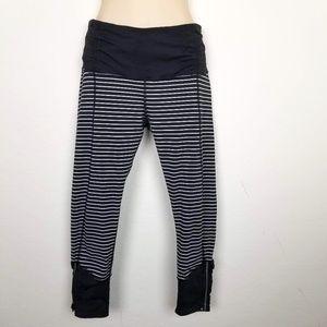 Lululemon Runday Zipper Bottom Striped Leggings